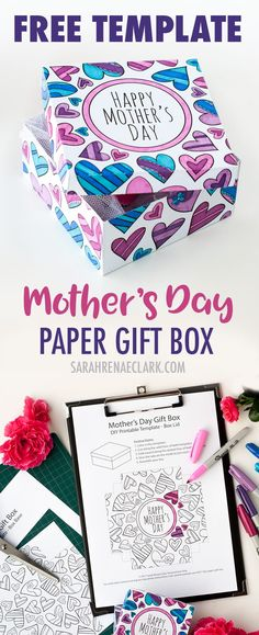 how to make a paper gift box free template for mothers day sarah renae clark coloring book artist and designer