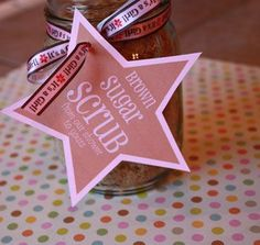 """Brown Sugar Scrub Baby Shower Favors!  Whenever hosting a soiree, don't forget the favors.  A gesture often overlooked, when you remember to send your guests off with a """"little something""""  they'll feel appreciated and special.  Yes, it's worth it!"""
