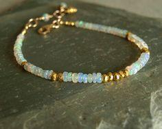 Ethiopian Opal Bracelet, natural Welo smooth fire opals, gold vermeil beads, 14K…