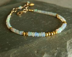 Ethiopian Opal Bracelet, natural Welo smooth fire opals, gold vermeil beads, 14K goldfilled, fire opal jewelry, real genuine opal birthstone #opalsaustralia