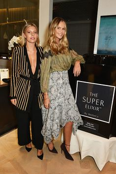 Tash Oakley and Elle Macpherson attend The Super Elixir 1st anniversary dinner at The Grace Restaurant at Grace Belgravia on October 27 2015 in...