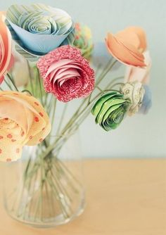 paper flower bouquet fine art print picture on VisualizeUs How To Make Paper Flowers, Paper Flowers Diy, Paper Roses, Handmade Flowers, Flower Crafts, Diy Paper, Fabric Flowers, Paper Art, Paper Crafts