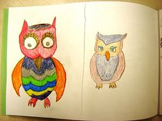 For the Love of Art: 3rd Grade  owls sketches to do before the splatter project
