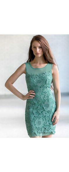 Lily Boutique Aria Crochet Lace Mesh Illusion Neckline Dress in Sage, $44 Sage Green Lace Sheath Dress, Cute Green Summer Dress, Sage Lace Party Dress, Online Boutique Dress www.lilyboutique.com
