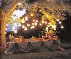 shabby chic evening wedding ideas - not sure the time of day but love all the 'hanging' light!