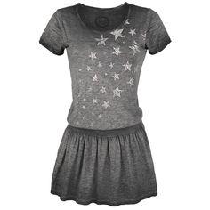 Vestido Star Rising de R.E.D. by EMP:  - estilo aceite - dibujo delantero - cintura elástica - estilo Vintage  - cuello redondo - manga corta  Este vestido Stars Rising de R.E.D. by EMP tiene un moderno aire look 2-en-1. La parte de arriba parece una camiseta con estrellas, y la baja parece una sexy mini falda plisada.