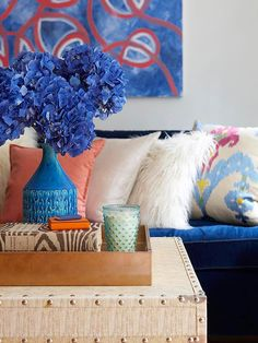 It's all about blue! Loving the bold colors! More colorful spaces: http://www.bhg.com/decorating/color/colors/best-color/