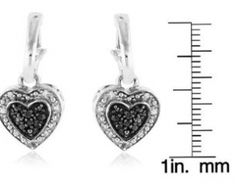58% off 1/5 Carat Black & White Diamond Heart Dangle Earrings in Sterling Silver Was: $96.00 Now Just: $39.95