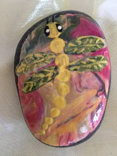 Hand painted Lake Superior stone with dragonfly