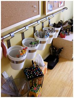 IKEA Grundtal kitchen bucket organizers and rail in the office for pens, scissors, stapler, etc. - above girls desk Ikea Grundtal Kitchen, Ikea Kitchen, Kitchen Bars, Kitchen Office, Organisation Ikea, Organizing Ideas, Playroom Organization, Makeup Organization, Playroom Art