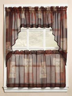 Enhance the appearance of your kitchen decor with the stylish Eden Curtains. Bring in an open and airy feel into your kitchen with this sheer voile fabric curtain separates program.  #Tiers #Swags