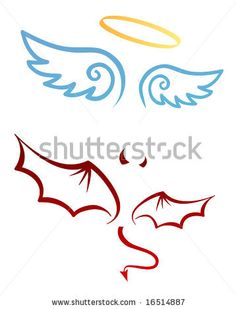 Angel and devil attributes by deedl, via ShutterStock