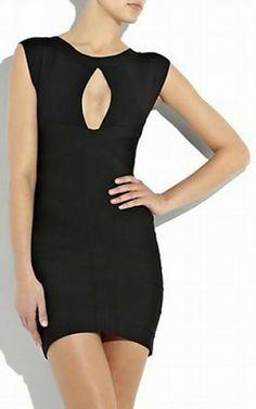 Black keyhole bandage dress