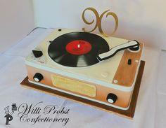Vintage record player 90th birthday cake