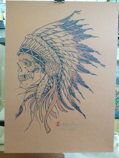Indian Chief Skull with Warpaint Screenprint 2color by adamguyhays, $60.00