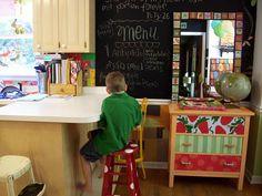 red & white polka dot stools for art/craft room