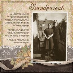 I love this early photo of my grandparents. They look so happy in this photo and I know they must have had a difficult life considering my Oma suffered a lot from mental illness.    Created with my Vintage Spring Value Collection.  Digital Scrapbook Layout, digiscrap layout, heritage layout, family history layout