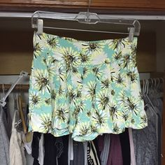 Sunflower flowy high waisted shorts From target not brandy but similar good condition worn a few times Super cute just not my style any more! Really pretty spring summer colors and style blue white yellow brown etc looks great with black and white shirts. Looks kind of like a skirt when on Brandy Melville Shorts Skorts