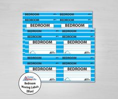 Bedroom Moving Labels (Blue)