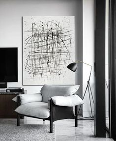 CZ Art Design - Hand painted black and white minimal art, verticall canvas painting.