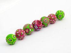 springtime, beads, fimo, polimerica, arcilla,Fühling Perlenset aus Polymer Clay handgefertigt von polymerdesign