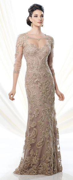 Lace and georgette slim A-line dress with lace trimmed illusion three-quarter length sleeves and bateau neckline, sweetheart bodice features V-back neckline, suitable for wedding guests, formal events and cocktail parties. Embellish by David Tutera ring style Hadley and earring style Abby Vine sold separately.