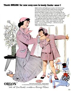 Turn to Orlon Easter for new easy care in lovely Easter wear (1953). #vintage #1950s #Easter #fashion