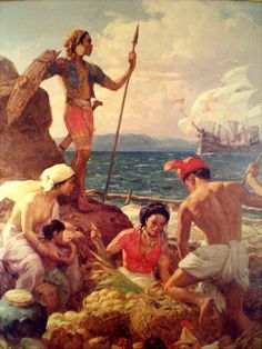 Painting by Fernando Amorsolo. Lapu-lapu (original artwork location: The Manila Hotel) Filipino Art, Filipino Culture, Filipino Tattoos, Philippine Mythology, Philippine Art, Historical Tattoos, Philippines Culture, Colonial, Original Artwork