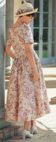 0044c9d7126 Vintage Laura Ashley floral trimmed straw hat and matching v-waisted cotton  dress.