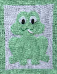 Froggin' About Animal Afghan  The animals are made separately then sewn on to the background with wadding in between to produce a 3D effect.  The tongue, nose and eyes are made separately and worked in as you go.  There are a few ends to sew in and you may find it easier to do this as you go along.