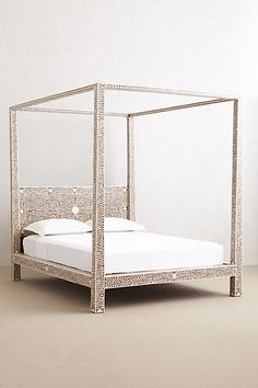 Anthropologie EU Bone Inlay Four Poster Bed
