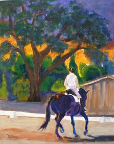 Equestrian Landscape - Sunset Schooling on Etsy, $350.00