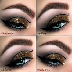 A pop of gold glitter was used as base on this Egyptian-inspired eyes. Recreate this dramatic look using the how-to guide and must-haves here.