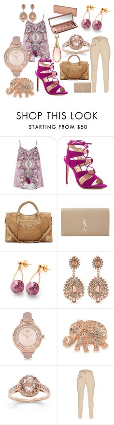 """Rose"" by maryluvsshoes on Polyvore featuring Monsoon, Steve Madden, Balenciaga, Yves Saint Laurent, Urban Decay, Carolee, River Island, Barbour, Christian Dior and rose"