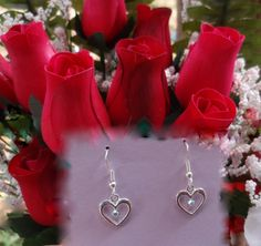 Swarovski Crystal Heart Earrings - Your choice of  color. $6.00, via Etsy.