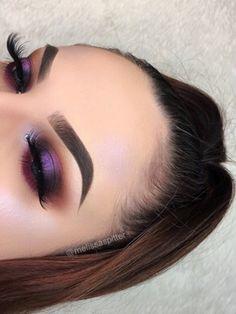 Modern Eye Makeup Ideas for 2018~ Bold Purple Shimmer