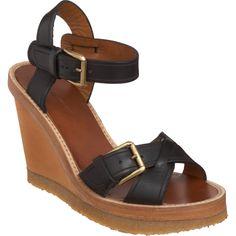 Isabel MARANT Handy Isabel Marant Brève Handy: Handy - Noir - Cuir plate-forme de deux pièces coin sandale à heelCrepe réglable à la cheville posté strap.100mm soleAvailable dans BlackImported