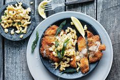 Donna Hay- Chicken Caraway Schnitzel with butternut spaetzle / donna hay magazine, photography by Chris Court