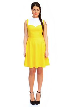 mod, retro and preppy look Beautifully made OFELIA DRESS. Handmade dress 100% Polyester. Color: Yellow and White You can choose another color if you want Just check the number on the list!   We can make the dress with your own measurements,  We need to know: Chest, waist, hips, upper arm circumference, length All my products are designed with a retro, vintage look! Preppy, classy Each dress is handmade with love and care. Executed carefully, based on detail, so you will have a great dress…