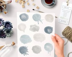 By Lef graphics on Etsy Watercolor clipart circles (44 pc) beige and greyish blue naturals hand painted for logo design blogs making cards printables wall art etc by ByLef