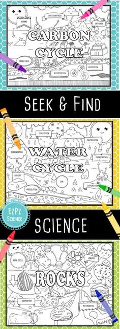 Seek & Find Science is perfect for introducing or reinforcing unit material for carbon cycle, water cycle, and the rock cycle. I love them for notebook title pages! Great for pre-assessment, group collaboration and reinforcement. Science Resources, Science Lessons, Science Activities, Science Experiments, Weather Activities, Science Ideas, Science Classroom, Teaching Science, Teaching Ideas