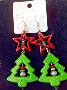Earrings  Christmas Trees and Stars Enamel  coered Wood Glittered #FashionJewelry #FrenchHook