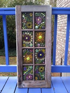 Stained glass-inspired mosaic door