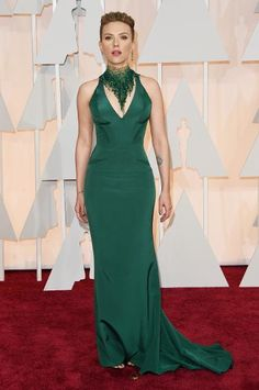Scarlett Johansson in Versace.  Her hair is so severe but I love the dress and neck piece