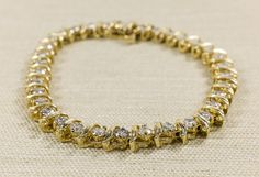 "Classic 14K Yellow Gold 3.40ctw Diamond ""S"" Link Tennis Bracelet 7""Long - 11.5 grams FREE SHIPPING! $2,499.00"