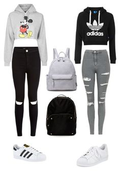 """School outfit"" by phoenyx-itani on Polyvore featuring New Look, Topshop, adidas and Steven by Steve Madden"