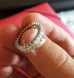 aliança inteira de diamantes lapidação baguette - jóias sem marca