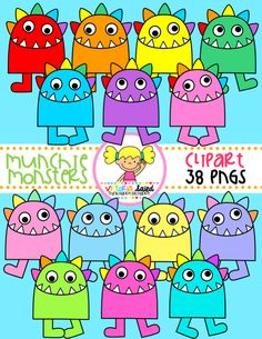 Monsters Clipart: these little guys are ready to munch letters, number, words, & so much more!!!