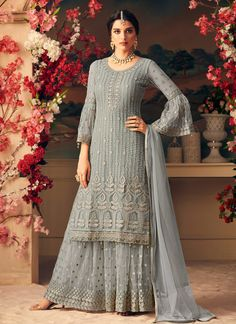 Light Green & Off White Designer Heavy Embroidered Net Sharara Suit - Moda Femminile Indian Gowns Dresses, Indian Outfits, Emo Outfits, Trendy Outfits, Designer Suits Online, Designer Dresses, Pakistani Suits, Pakistani Dresses, Punjabi Suits