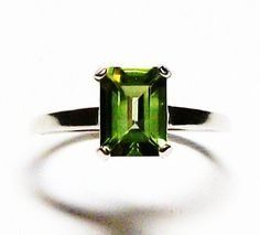 "Peridot ring, solitaire ring, peridot, birthstone ring, green ring, green s 6 3/4  ""Rise & Shine"""" by Michaelangelas on Etsy"